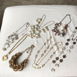 Pearls, gold heart dangle statement necklace lot